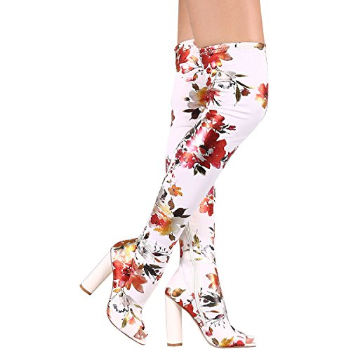 CAPE ROBBIN Womens Peep Toe Floral Print Chunky High Heel Stretch Over The Knee Thigh High Boot 8.5 White