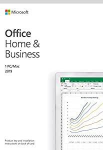 Microsoft Office Home and Business 2019 Activation Card by Mail 1 Person Compatible on Windows 10 and Apple macOS