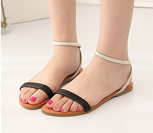 dc6aaecfad Donna Donne scarpe dell Appartamento Comfort sandali estivi linea semplice punta  nuda sandali 39 Nero: Amazon.it: Sport e tempo libero