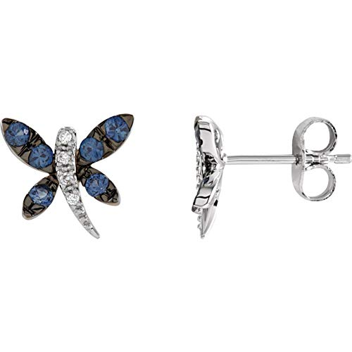 Sapphire Earrings Dragonfly (14K White Gold 1.9/2mm 0.47 CTW Genuine Light Blue Sapphire & .04 CTW Diamond Dragonfly Post Stud Earrings)