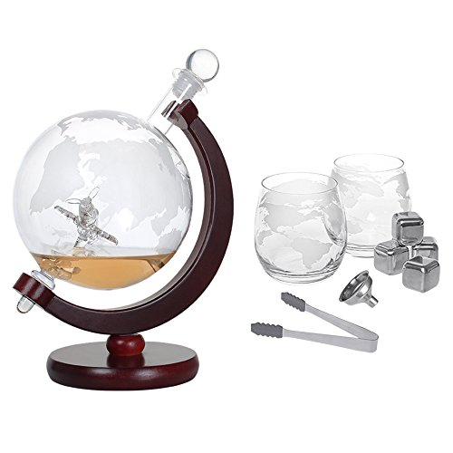 Whiskey Decanter Set, World Etched Globe Decanter Airplane with Crafted Glass Whiskey Stones Tongs Bar Funnel for Home Bar Liquor Decoration, 1500ml Capacity