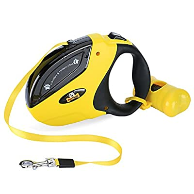 Retractable Dog Leash with Break and Lock Button - Free Waste Bag & 4 eBooks - Premium Quality - 16 Ft - Suitable for Small, Medium and Large Dogs - Up to 110 lbs - 100% Life Time Guarantee from Pet Neat