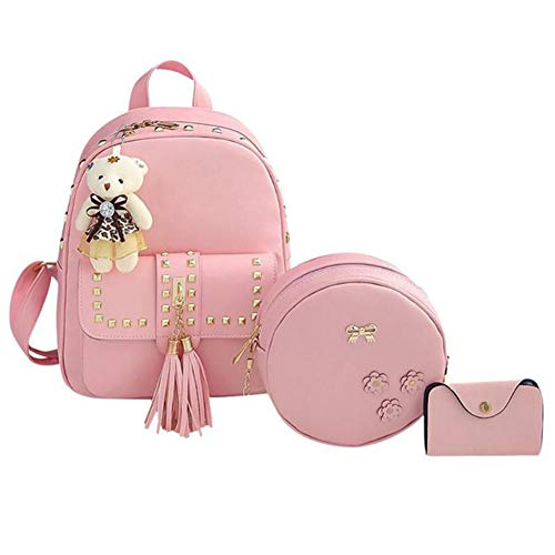 pelle Pu Mujer per in Donne Dos Femminile Mochilas 3Pcs Pink à Zaino Femme Bag la ragazza Set Shoulder Sac VHVCX Zaino scuola EBn0waqxx8