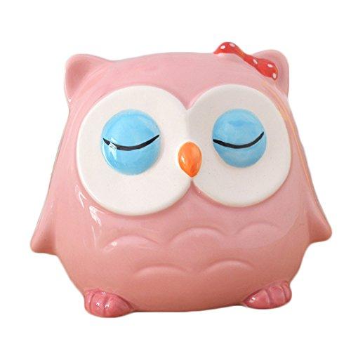 CHOOLD Cute Owl Ceramic Piggy Bank Coin Bank Saving Pot Money Bank for Girls Birthday Christmas Gift Nursery Decor(Pink) (Bank Owl)