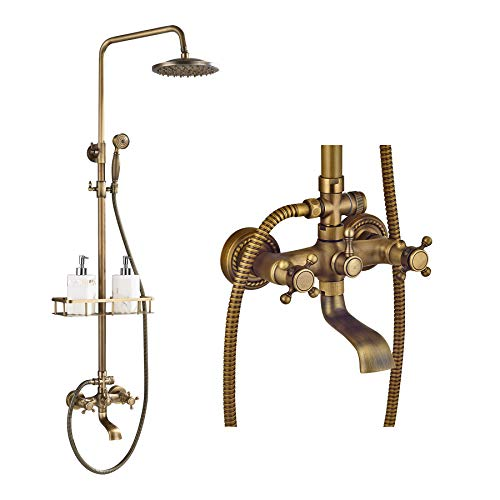 Rozin Bathroom Tub Shower Faucet System with Caddy Holder Antique Brass