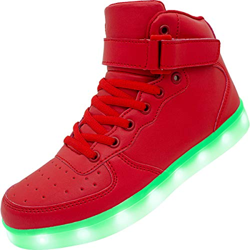 Sonic Youth Halloween 12 (APTESOL Kids Youth LED Light Up Sneakers Boys Girls High Tops Cute Cool Flashing Shoes Halloween Xmas School Party Dancing Shoes, Red, 12.5 M US Little)