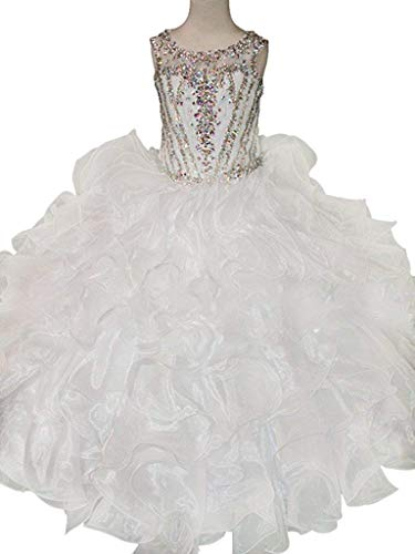 JinJia Girls Sequins Ball Gowns Illusion Neck Beaded Long Pageant Dresses 6 US White1