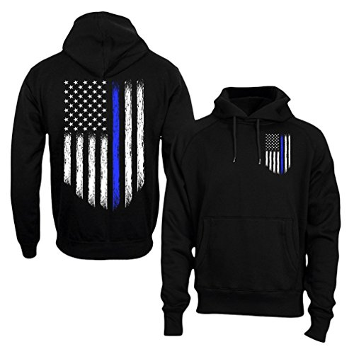 Fantastic Tees Thin Blue Line USA Flag Police Men's Hoodie Sweatshirt - Clothing Line Courage