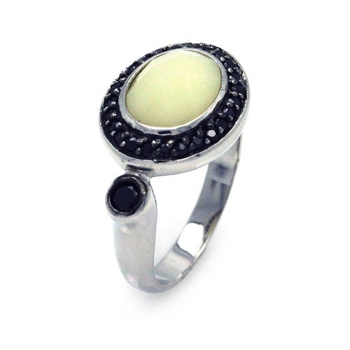 Exquisite Sterling Silver Rhodium Black Rhodium Plated Pearl Center Black Cluster CZ Ring (Pearl Cluster Rhodium Silver Ring)