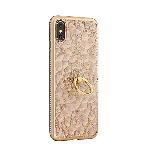 - Phone Case Compatible with iPhone X & iPhone Xs, GIZEE Luxury Sparkle Bling Crystal Clear 3D Diamond Ring Stand Soft TPU Protective Case (Gold)