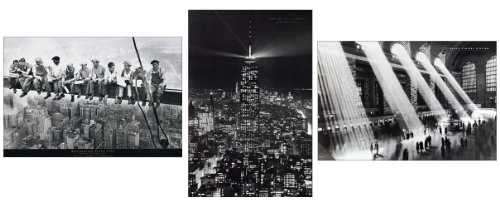 Set of 3 Large 35 x 23 Inch Vintage Reproduction New York Poster Prints Including the Empire State Building, Rockefeller Plaza Builders and Grand Central (Rockefeller Building New York)