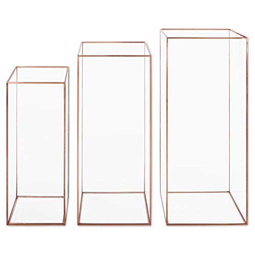 Koyal Wholesale Geometric Hurricane Candle Holder Set of 3 for Wedding Centerpiece, Table Decorations, Home Decor, Patio Decor (L Rose Gold) (Wholesale Lantern Centerpieces)