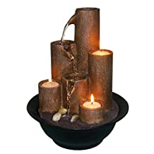 Alpine Tiered Column Tabletop Fountain with Three Candles