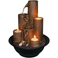 alpine wct202 tiered column tabletop fountain with 3 candles - Fountain For Home Decoration