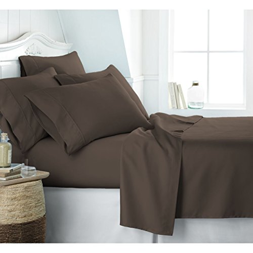 Roch Linen Egyptian Cotton Hotel Collection Bed Sheet Set - Deep Pockets, Wrinkle and Fade Resistant, Hypoallergenic Sheet and Pillow Case Set - (Queen, Brown)