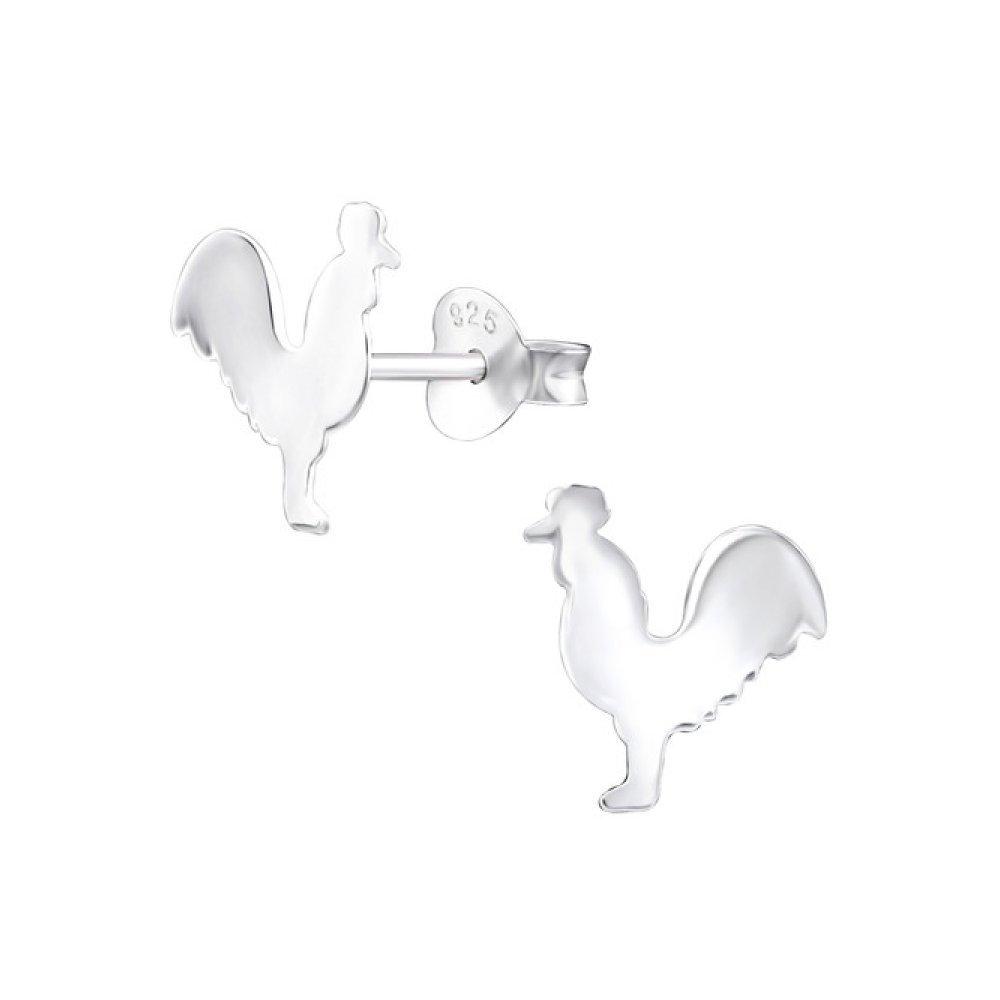 Sterling Silver Chicken Stud Earrings