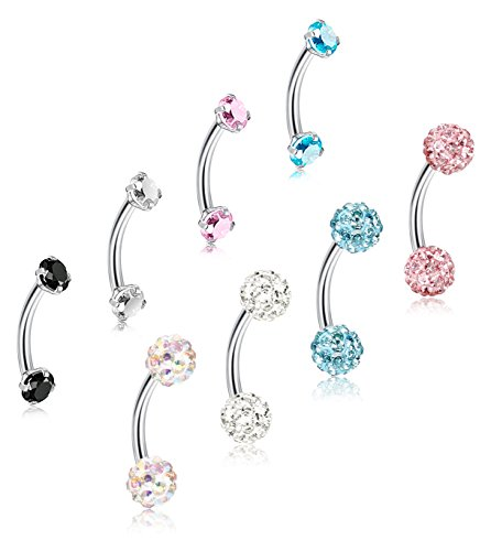 ORAZIO 8Pcs 16G Stainless Steel Eyebrow Ear Navel Belly Lip Ring Body Piercing Jewelry 6-12mm (8Pcs, 6mm) Guage Belly Ring