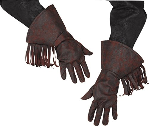Western Cowboy Fringed Gloves Rodeo Biker Costume Accessory Brown Faux (Cowboy Gloves)