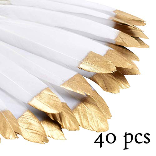 CHQHQ Gold Dipped Natural White Feathers for Various Crafts, Birthday Parties, Wedding and Party Dress-ups (Gold Dipped)40PCS