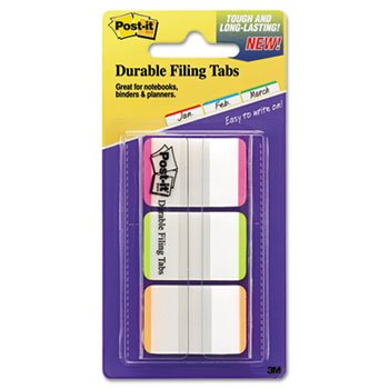 File Tabs, 1 X 1 1/2, Lined, Assorted Fluorescent Colors, 66/pack