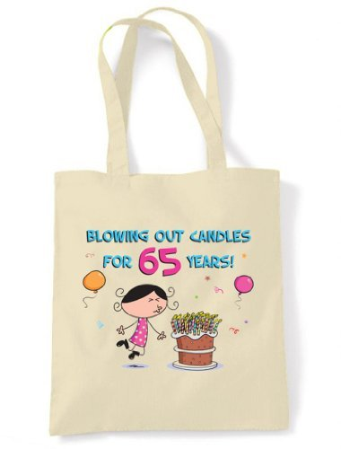 Candles Out Years Birthday Tote 65 for Shoulder Cream 65th Blowing Bag Cotton Unbleached U5dwSqU