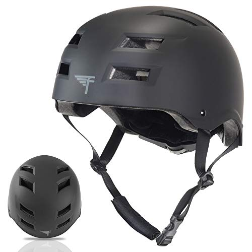 Flybar Dual Certified CPSC Multi Sport Kids & Adult Bike And Skateboard Adjustable Dial Helmet,Black,M-L - In Line Hockey Helmets
