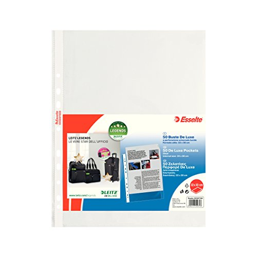 Esselte Perforated Envelopes, Copy Safe de Luxe, Transparent, Document Holder 22x30 PP lucido