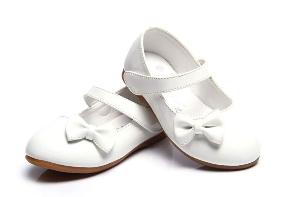 Femizee Girls Mary Jane Shoes Bow-Knot Wedding Party School Dress Ballet Flat(Toddler/Little Kid),White,1525 CN21 by Femizee (Image #4)