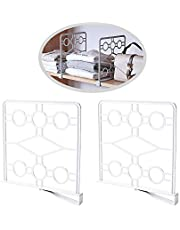 MINIDUO Multifunction Shelf Divider Separator for Storage and Organization in Bedroom Bathroom Kitchen and Office Shelves-2Pcs(White)