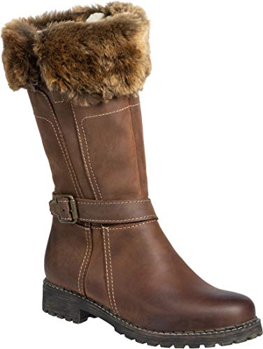 Overland Women's Adelyn Wool-Lined Leather Boots with Shearling Trim -