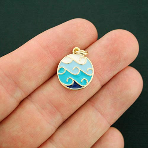 Extensive Collection of Charm 2 Waves Charms Gold Plated Enamel Shades of Blue - E391 Express Yourself ()