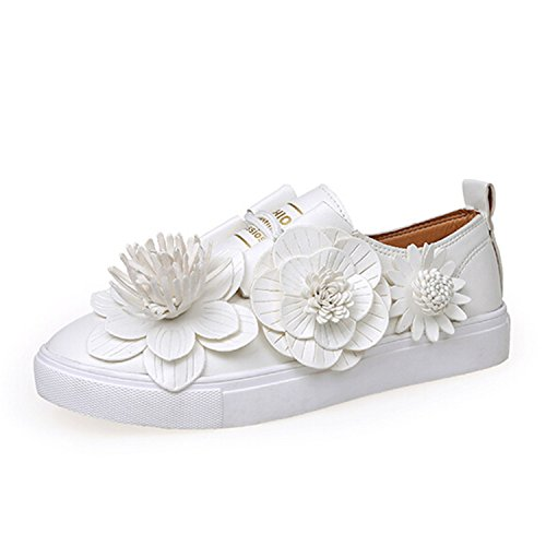 Baqijian Womens Flats Lace Up White Flat Platform Daily G...