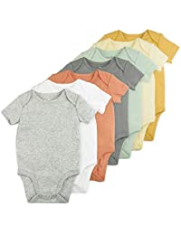 Baby Boy or Baby Girl Bodysuit Set, 7-Pack Short Sleeve Solid Bodysuits