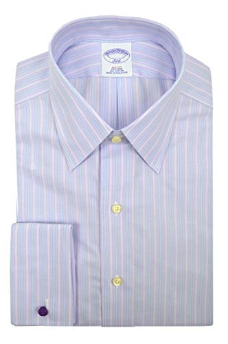 "Brooks Brothers Mens Slim Fit Non Iron 100% Cotton Dress Shirt Light Purple Striped (15.5"" Neck 32"" Sleeve) from Brooks Brothers"