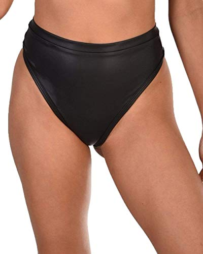 (iHeartRaves Black Faux Leather High Rise Thong Bottoms (Small))