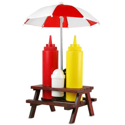 Picnic Bench Condiment Set | Picnic Table Condiment Set, Condiment Holder, Sauce Holder, Sauce Bottle Holder, Sauce Set Sole Favors 71/2855