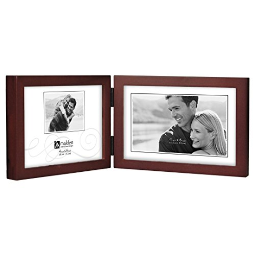 Malden International Designs Dark Walnut Concept Wood Picture Frame, Double Horizontal, 2-4x6, Walnut