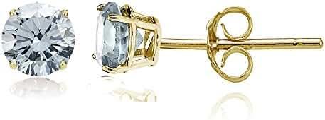 14k Gold Aquamarine 5mm Round Stud Earrings