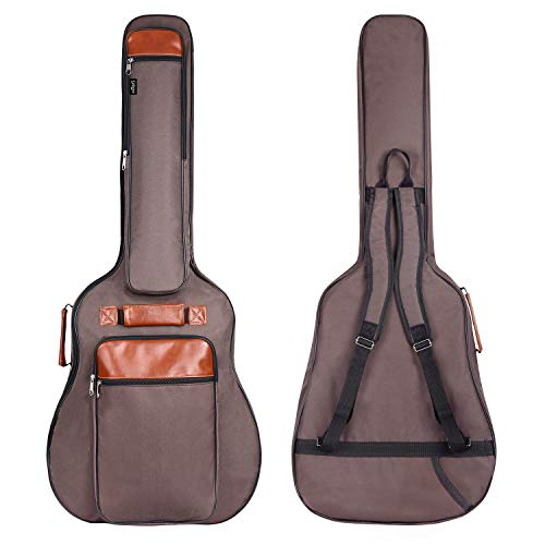 CAHAYA Guitar Bag 40 41 42 Inches 6 Pockets [Upgraded Premium Version] Guitar Case Waterproof Oxford Cloth 0.5 Inch Extra Thick Sponge Overly Padded with 5 Picks & Holder for Acoustic Classical Guitar ()
