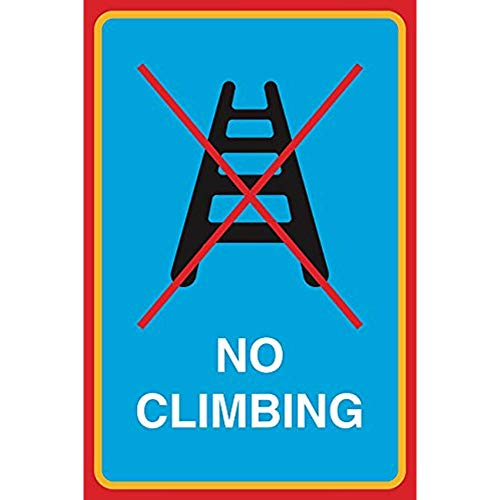 """Diuangfoong No Climbing Print Ladder Picture Safety Notice Business Aluminum Metal Tin 12""""x18"""" Sign Plate from Diuangfoong"""