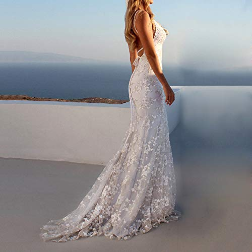 Women Sexy Backless Lace Deep V-Neck Long Dress Solid Short Sleeve Elegant Vintage Gown Evening Party Maxi - Elegant Underwire