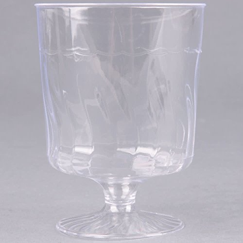 Fineline Flairware 2208 8 oz. Clear Plastic Wine Goblet - 10/Pack