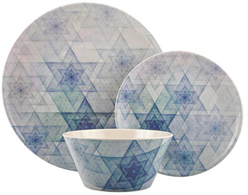Melange 608410091832 12-Piece 100% Dinnerware Set for 4 Hanukkah Stars Collection Shatter-Proof and Chip-Resistant Melamine Dinner, Salad Plate & Soup Bowl (4 Each), 10.5