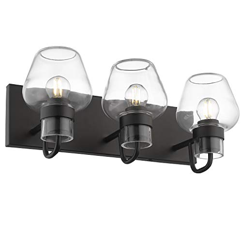 Beionxii Bath Vanity Lights Wall Sconce 3-Light Lighting Fixture Bathroom Industrial Black Finish Wall Light Home with Glass Shape