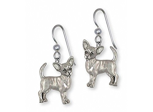 Chihuahua Jewelry Sterling Silver Chihuahua Earrings Handmade Dog Jewelry CU17S-E