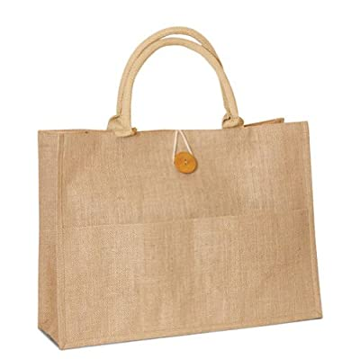 "Women Shopping Bag Jute Burlap tote bag with cotton webbed handles with buttoned closure and front pocket all natural in color size 18""W x 14""h x 6""Gusset Eco-friendly Reusable Bag - CarryGreen Bags"