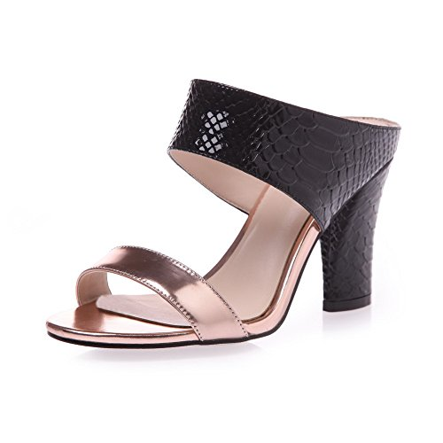 High Womens Pull AmoonyFashion Black on Sandals Toe Assorted Open Color Heels Material Soft TA56q5d