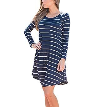 Long Sleeve Crew Neck Hem Lines Stretchy Short Tunic Tops Mnin Dress Blue Small