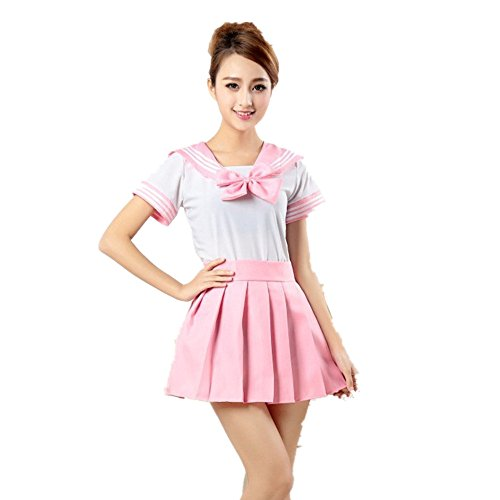 Missley Japan School Uniform Dress Cosplay Costume Anime For Girl Lady (L, pink)