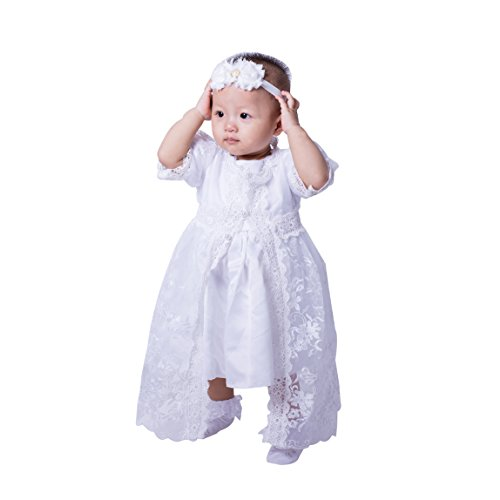 5PCs/Set Baby Girls White Christening Baptism Gown Princess Dress (15-18Months) (Gown Set Christening)